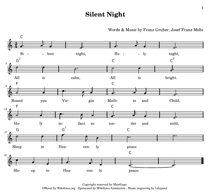 Silent Night Piano Sheet Music With Letters - silent night ...